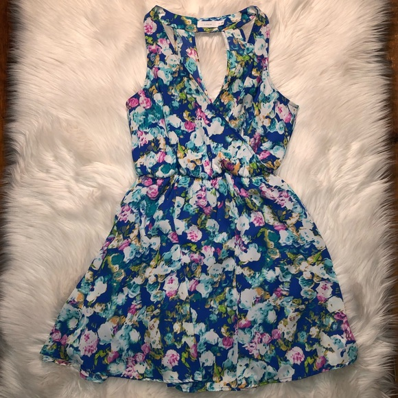 Lush Dresses & Skirts - Lush multi water colored floral blousen dress